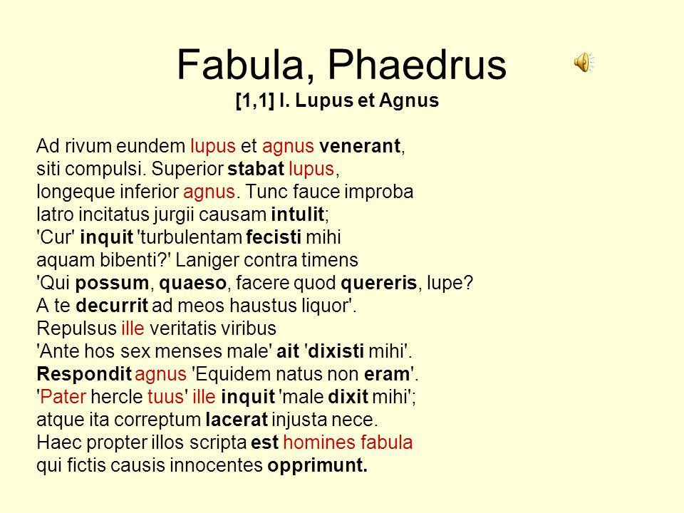 Fabula, Phaedrus [1,1] I. Lupus et Agnus